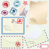 Postcard, envelope and paper with Retro nautical Stamps - for de — Stock Vector