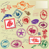Sea and tropical elements - rubber stamps collection — Stock Vector