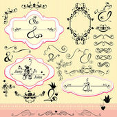 Vintage ornaments and frames, calligraphic design elements and p — Stock Vector