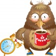 Early morning time - funny owl with cup of coffee and alarm cloc — Stock Vector #23851935