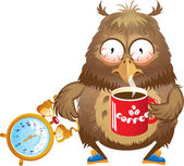 Early morning time - funny owl with cup of coffee and alarm cloc — Stock Vector