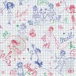 Childish style hand drawn seamless pattern with girls — Image vectorielle