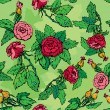 Hand drawn Roses flowers -ornate seamless pattern — Imagen vectorial