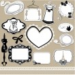 Set of frames, symbols, tools and accessories for sewing studio — ストックベクター #24547221