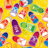 Seamless pattern - colored children gumshoes on yellow backgrou — Stock Vector