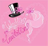 Wedding invitation card with wedding veil and groom hat — Stock Vector