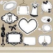 Set van frames, symbolen, gereedschappen en accessoires voor naaien studio — Stockvector