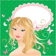 Stock Vector: Blonde girl beautyful face - portrait on polkdot green backgro