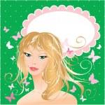 Blonde girl beautyful face - portrait on polka dot green backgro — Stock Vector