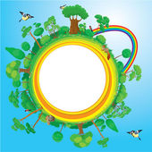 Globe with green trees, birds, animals, rainbow - eco concept — Stock Vector