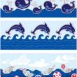 Set of Seamless sea borders with dolphins, whales, paper ships a — Imagen vectorial