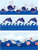 Set of Seamless sea borders with dolphins, whales, paper ships a — Stock Vector