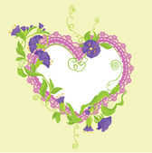 Convolvulus Flowers bouquet and lace heart - design for wedding — Stock Vector