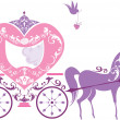 Stock Vector: Vintage fairytale horse carriage isolated on white background