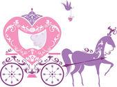 Carro de caballo fairytale vintage aislado sobre fondo blanco — Vector de stock