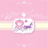 Vintage wedding invitation with retro horse carriage — Stock Vector