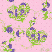 Seamless pattern - Convolvulus Flowers hearts on polka dot pink — Stock Vector