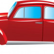 Stock Vector: Red retro car isolated on white background