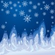 Christmas hoarfrost background on window glass - Winter decorati - Stock Vector
