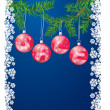 Sale with christmas decoration balls on xmas tree — Векторная иллюстрация