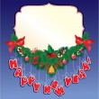Christmas garland on blue background with empty frame for your t — 图库矢量图片