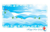 Winter landscape with skier: snow hills and pines - Happy New Y — Stock Vector
