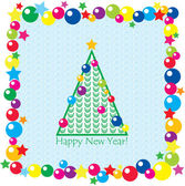 Christmas tree, balls and stars on seamless background. New year — Stock Vector