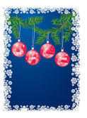 Sale with christmas decoration balls on xmas tree — Stock Vector
