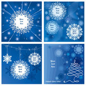 Four beautiful New Year gift cards, vector illustration — Vector de stock