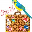 Travel concept - Suitcase with journey stickers and parrot isola — ベクター素材ストック
