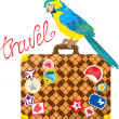 Travel concept - Suitcase with journey stickers and parrot isola - Stock Vector