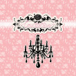 Wedding invitation card with luxury chandelier on pink floral b — Stock Vector #25483057