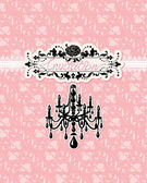 Wedding invitation card with luxury chandelier on pink floral b — Stock Vector