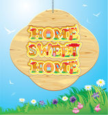 Wooden Frame with Home, sweet home Words on sky background. — Stock Vector