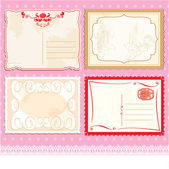 Set of Postcards in vintage design on polka dots pink background — ストックベクタ