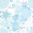 Stock Vector: Light Blue floral seamless pattern