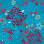Seamless background with Coral Reef and Sea stars — Stok Vektör