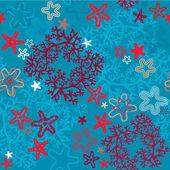 无缝背景与珊瑚礁和海星星 — 图库矢量图片