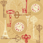 Vintage seamless pattern with clock, keys and Eiffel tower — Stock Vector