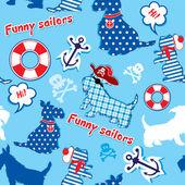 Patrones sin fisuras con perros terrier escocés gracioso - marineros, un — Vector de stock