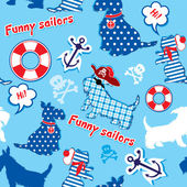 Seamless pattern with funny scottish terrier dogs - sailors, an — Stockvector
