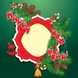 Christmas and New Year background - fir tree branches, pine cone — ストックベクター #28945799