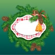 Vector de stock : Christmas and New Year background - fir tree branches, pine cone