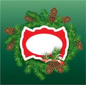 クリスマスと新年の背景 - モミの木の枝や松 c — ストックベクタ