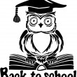 Decorative bird - owl with graduation cap and book, isolated on — Stock Vector