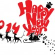 New Year card with flying rein deers - 2014 — Imagen vectorial