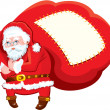 Stock Vector: Cartoon SantClaus with huge sack full of gifts - Christmas and