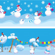 Set of 2 Horizontal seamless backgrounds with cute snowmen for C — Stock Vector #29946733