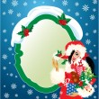 Brunette Christmas Girl wearing Santa Claus suit and carrying ch — 图库矢量图片