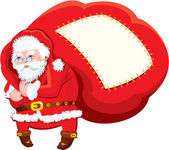 Cartoon Santa Claus with huge sack full of gifts - Christmas and — Stock Vector